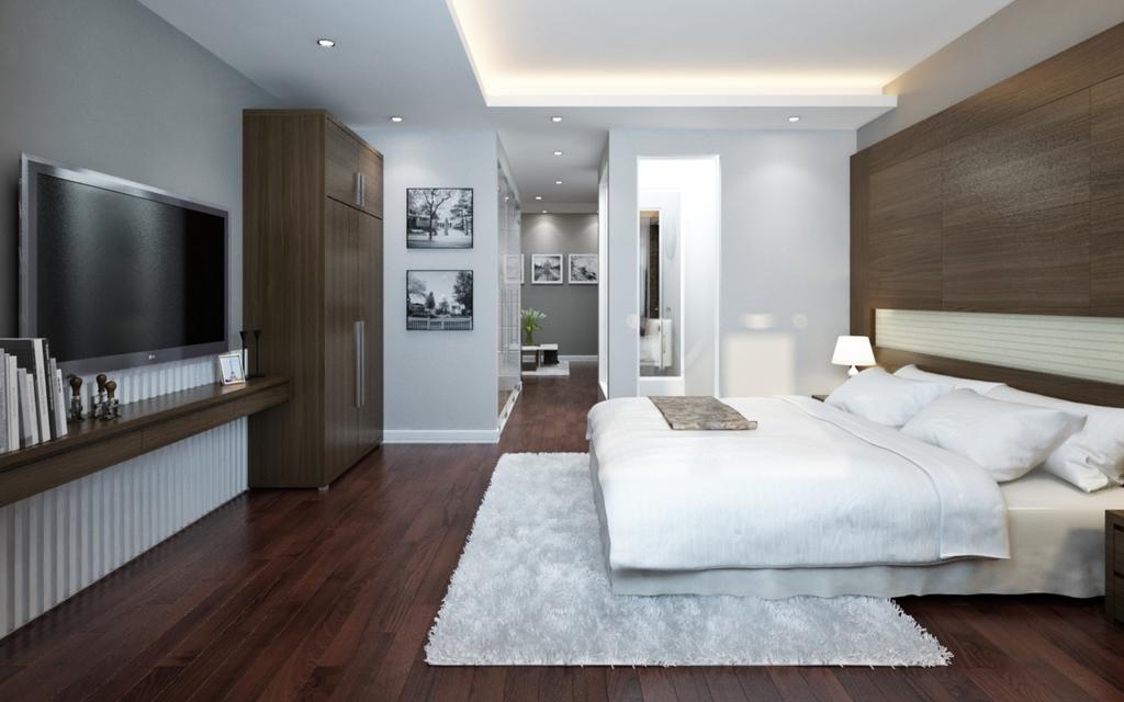 Phòng nghỉ với nội thất hiện đại tạo cảm giác sang trọng và tinh tế