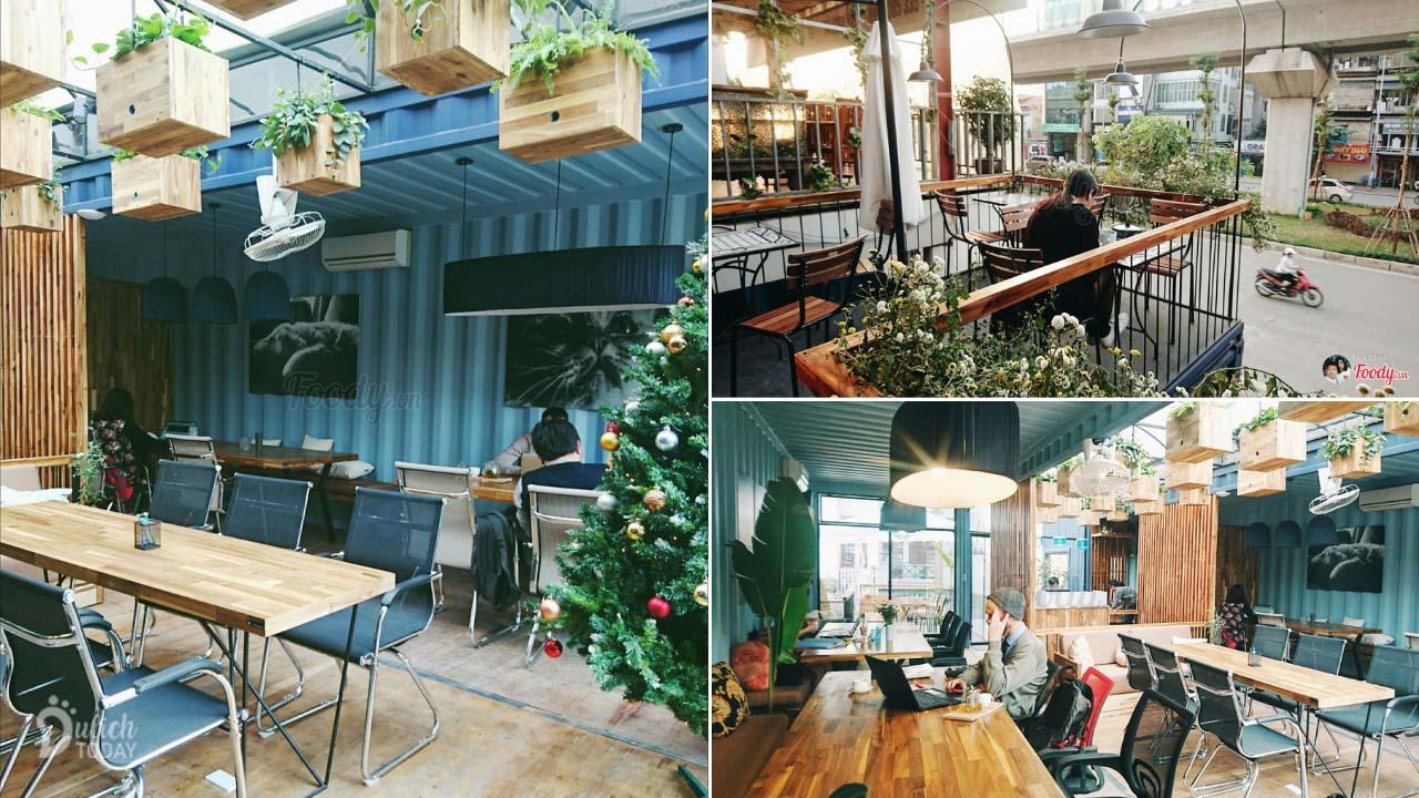 Không gian tại Adapter Cafe với nhiều góc làm việc và thư giãn đa dạng