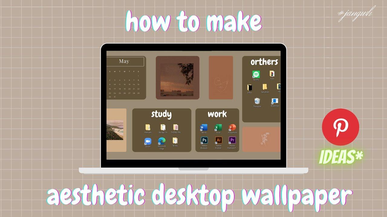 Hướng dẫn làm Desktop Wallpaper bằng Canva đơn giản | Decor laptop #jangwh