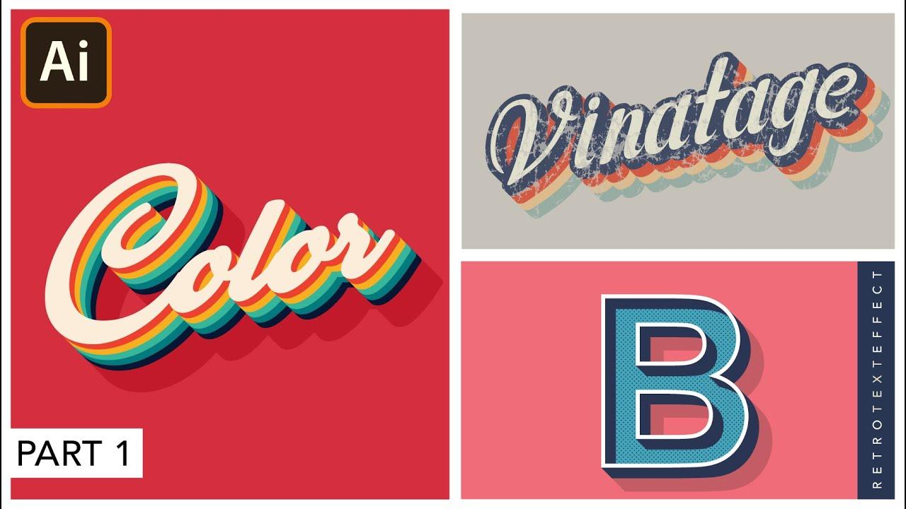 Retro Text Effect in Adobe Illustrator | Striped Text | Graphic design
