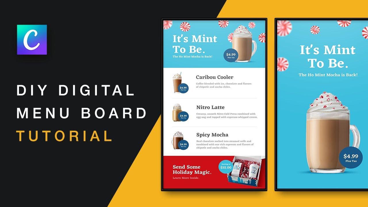DIY Digital Menu Board (Creating a FREE Restaurant Menu With Canva)