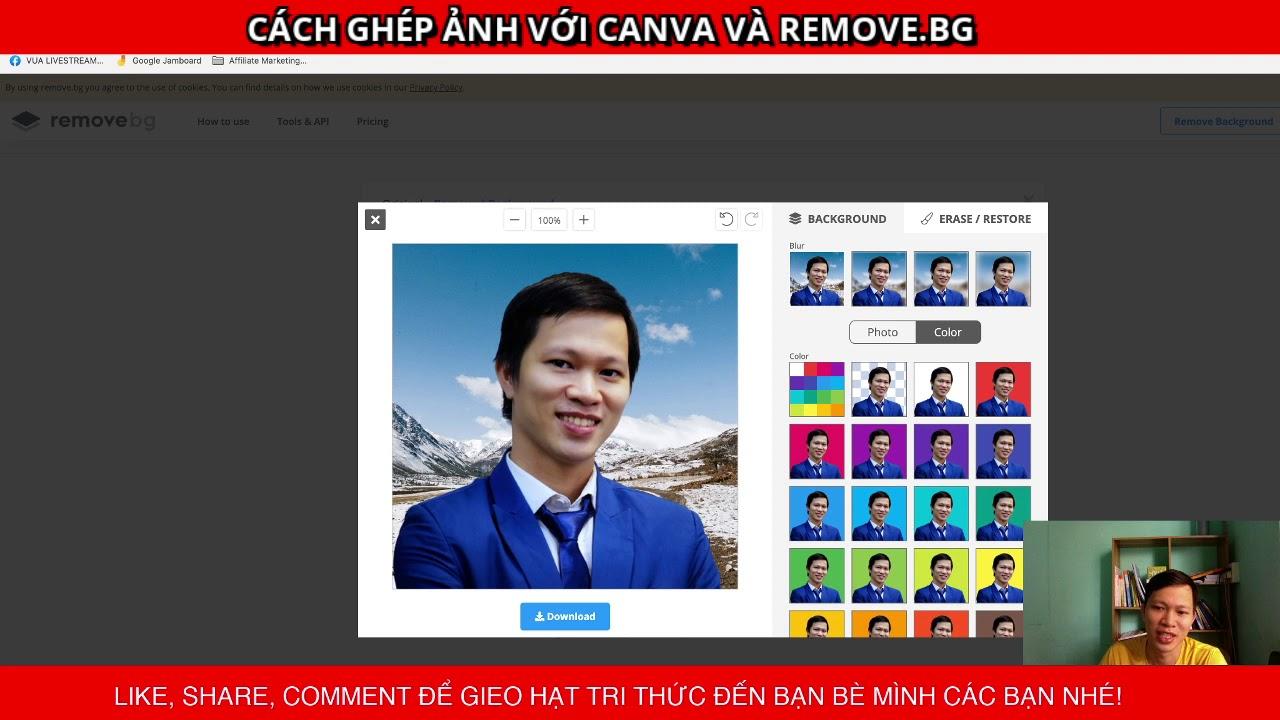 Hướng dẫn ghép ảnh với Canva và Remove.bg