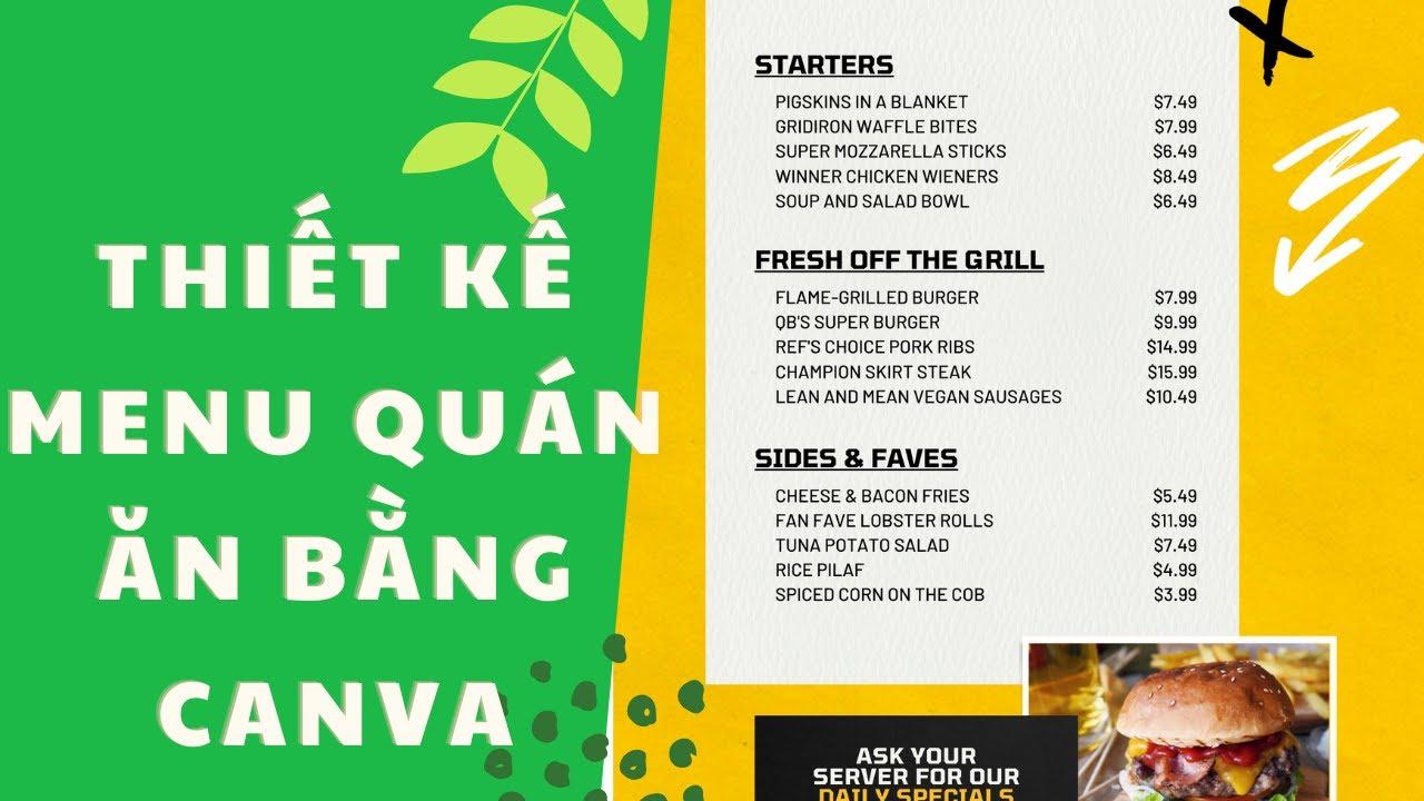 [Bài 12] Hướng dẫn thiết kế Menu quán ăn bằng Canva | Nguyễn Minh Phụng