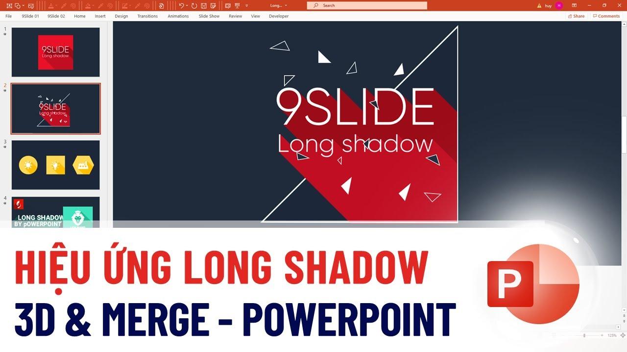 Hướng dẫn Hiệu ứng Long Shadow bằng Merge & 3D Powerpoint / Khóa học #Powerpoint Online: 9slide.com/
