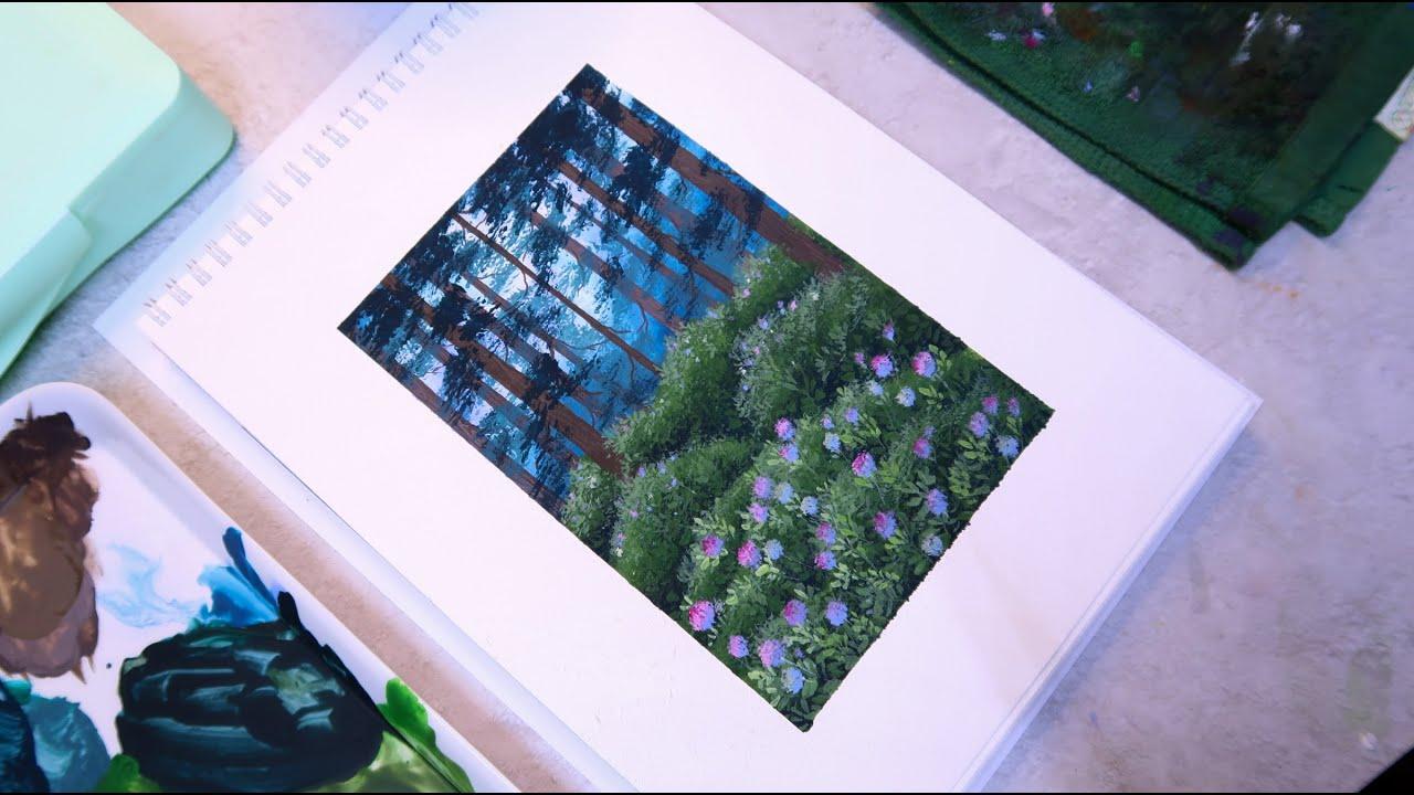 ?Vẽ tranh với màu HIMI GOUACHE [3/100] Hướng dẫn chi tiết - landscape paintings